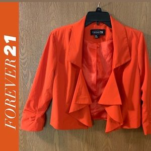 💟 FOREVER 21 Orange 3/4 Sleeve Blazer